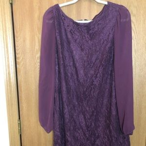 16W Purple lace cocktail dress sheer long sleeves